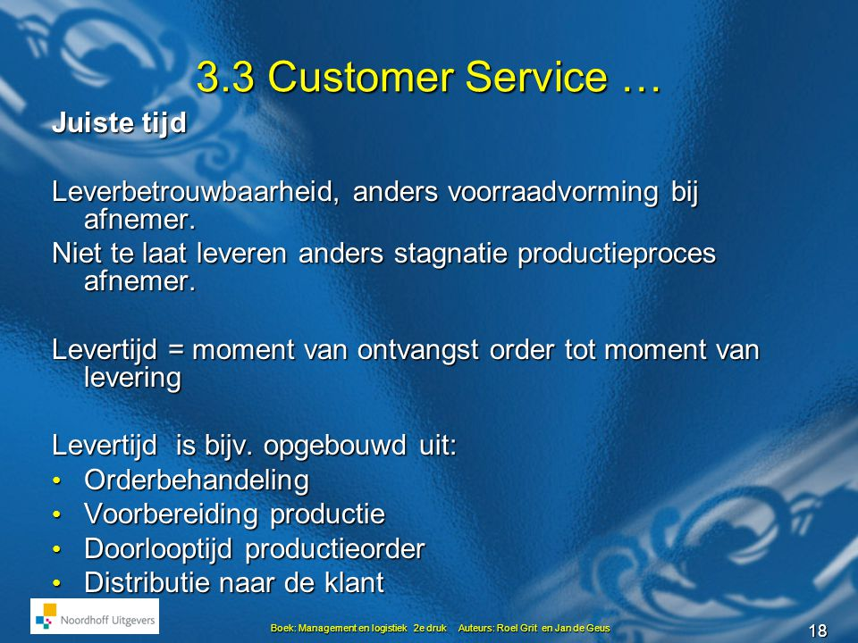 3.3 Customer Service … Juiste tijd