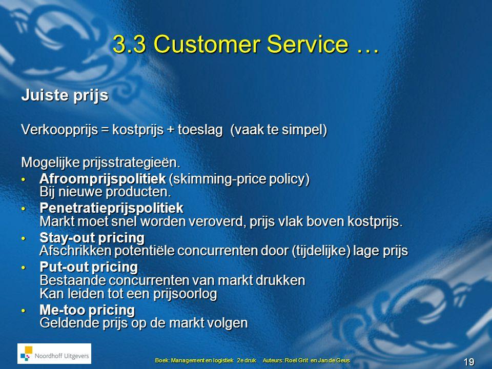 3.3 Customer Service … Juiste prijs