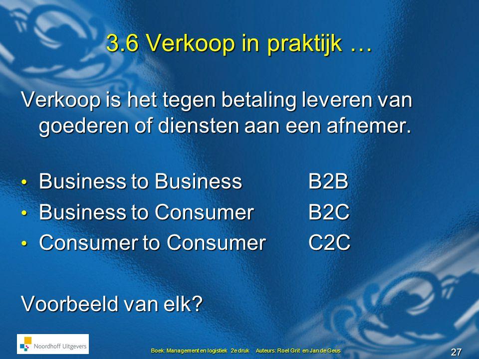 3.6 Verkoop in praktijk … Verkoop is het tegen betaling leveren van goederen of diensten aan een afnemer.