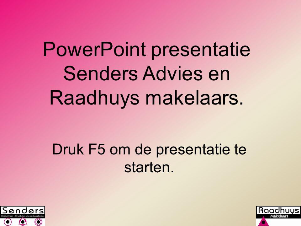 PowerPoint presentatie Senders Advies en Raadhuys makelaars.