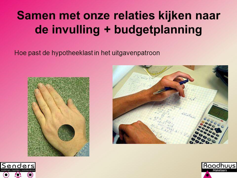 Samen met onze relaties kijken naar de invulling + budgetplanning
