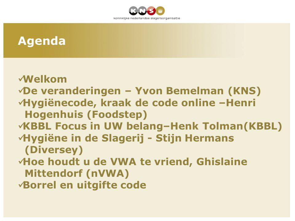 Agenda Welkom De veranderingen – Yvon Bemelman (KNS)