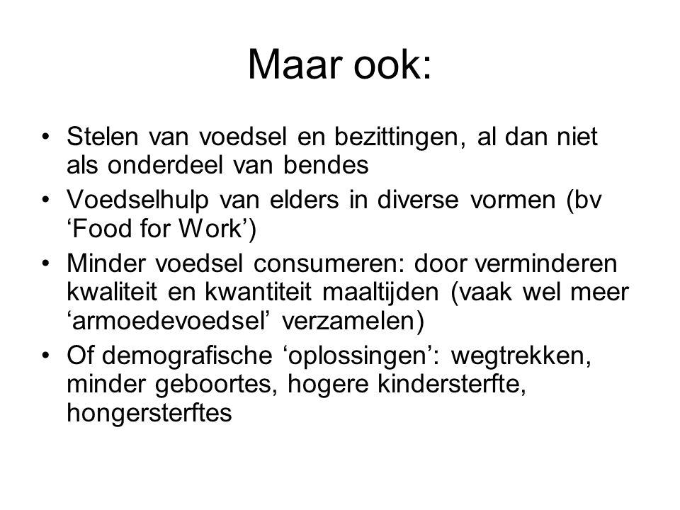 Maar ook: Stelen van voedsel en bezittingen, al dan niet als onderdeel van bendes. Voedselhulp van elders in diverse vormen (bv 'Food for Work')