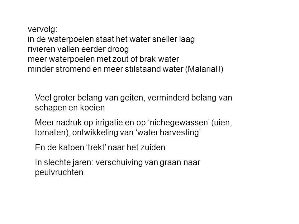 vervolg: in de waterpoelen staat het water sneller laag rivieren vallen eerder droog meer waterpoelen met zout of brak water minder stromend en meer stilstaand water (Malaria!!)