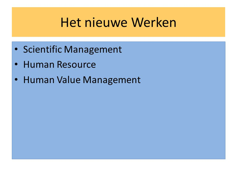 Het nieuwe Werken Scientific Management Human Resource