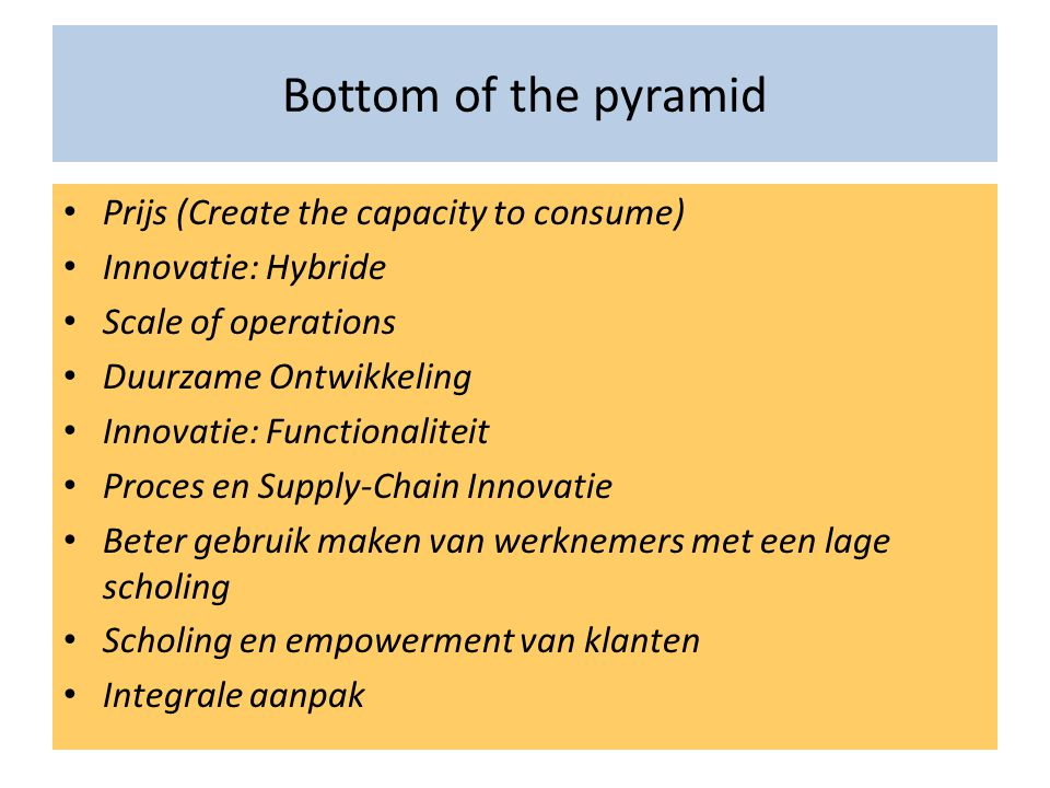 Bottom of the pyramid Prijs (Create the capacity to consume)