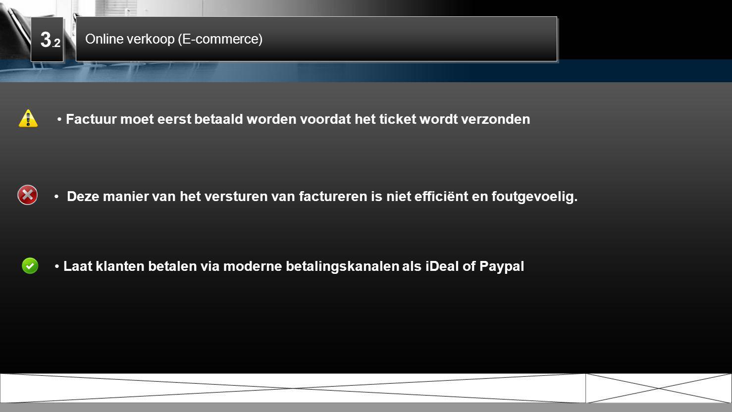 3.2 Online verkoop (E-commerce) Factuur moet eerst betaald worden voordat het ticket wordt verzonden.