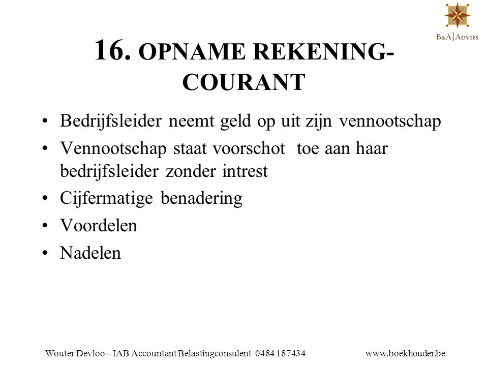 16. OPNAME REKENING-COURANT