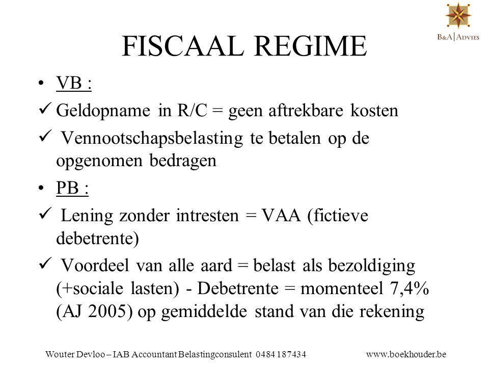 FISCAAL REGIME VB : Geldopname in R/C = geen aftrekbare kosten
