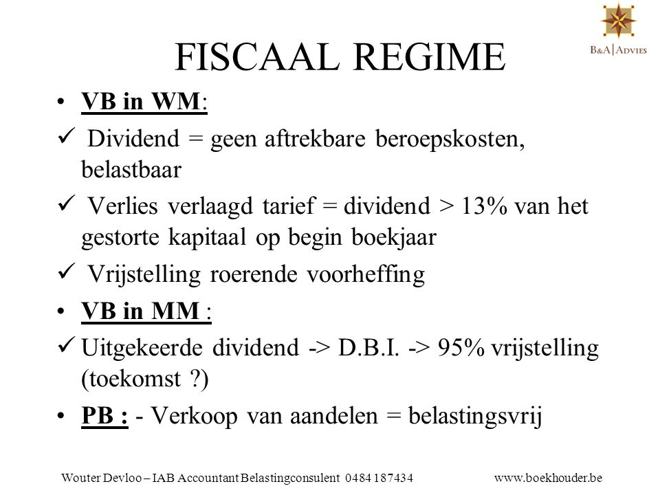 FISCAAL REGIME VB in WM:
