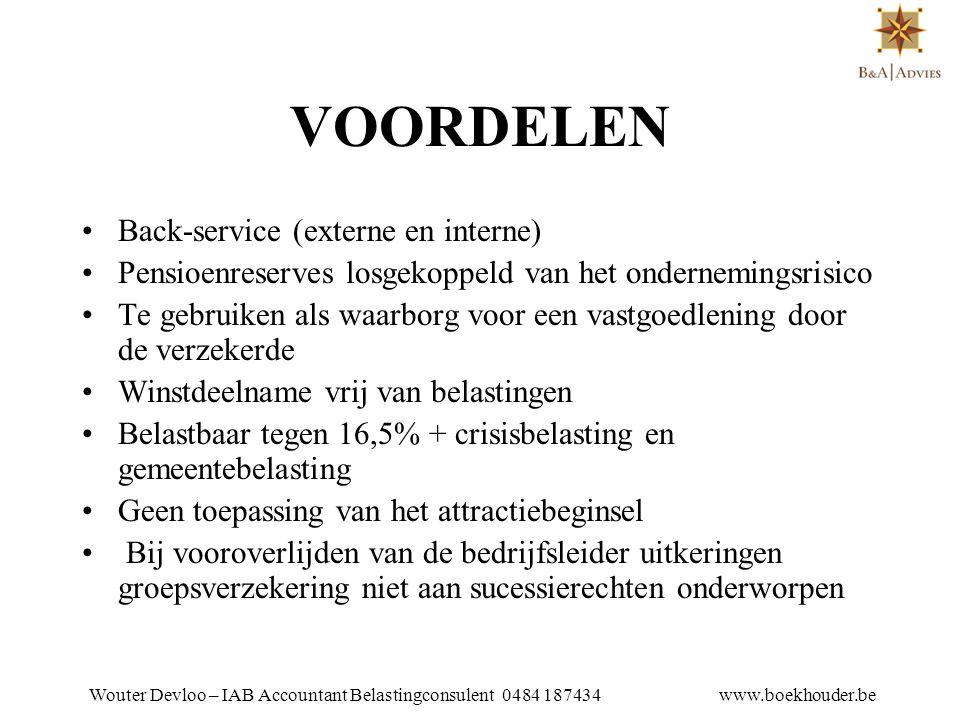 VOORDELEN Back-service (externe en interne)