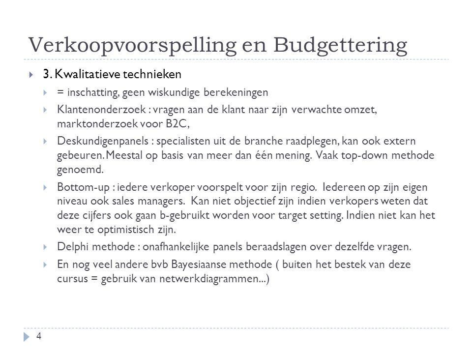 Verkoopvoorspelling en Budgettering