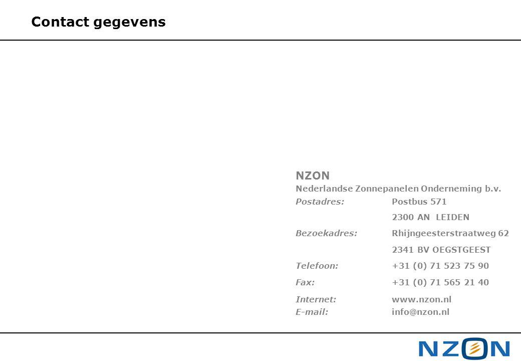 Contact gegevens NZON Nederlandse Zonnepanelen Onderneming b.v.