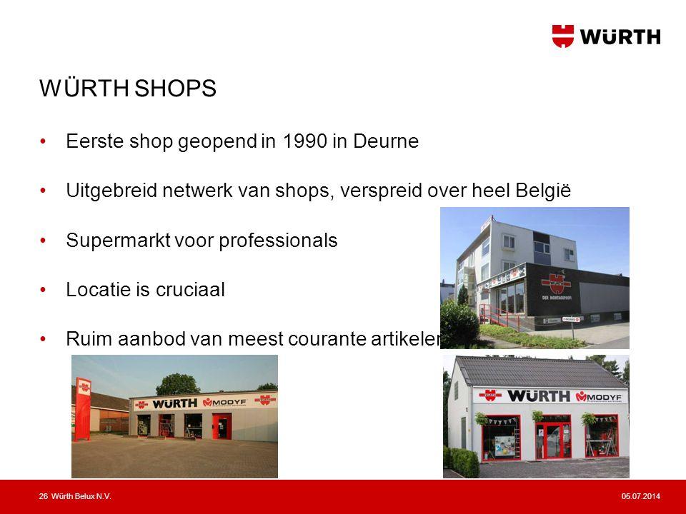 WÜRTH SHOPS Eerste shop geopend in 1990 in Deurne