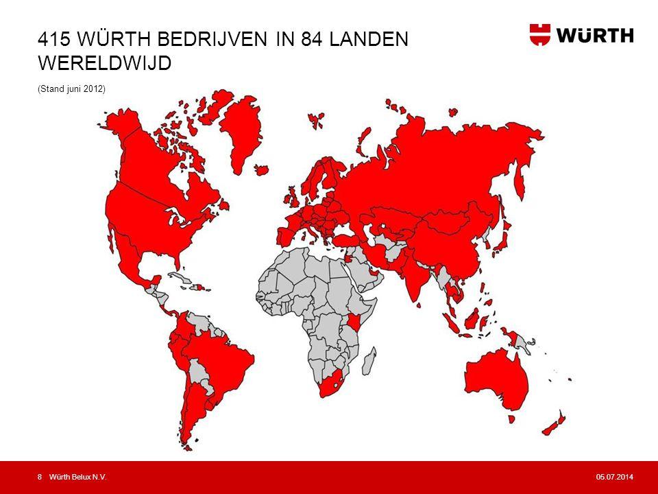 415 WÜRTH BEDRIJVEN IN 84 LANDEN WERELDWIJD (Stand juni 2012)