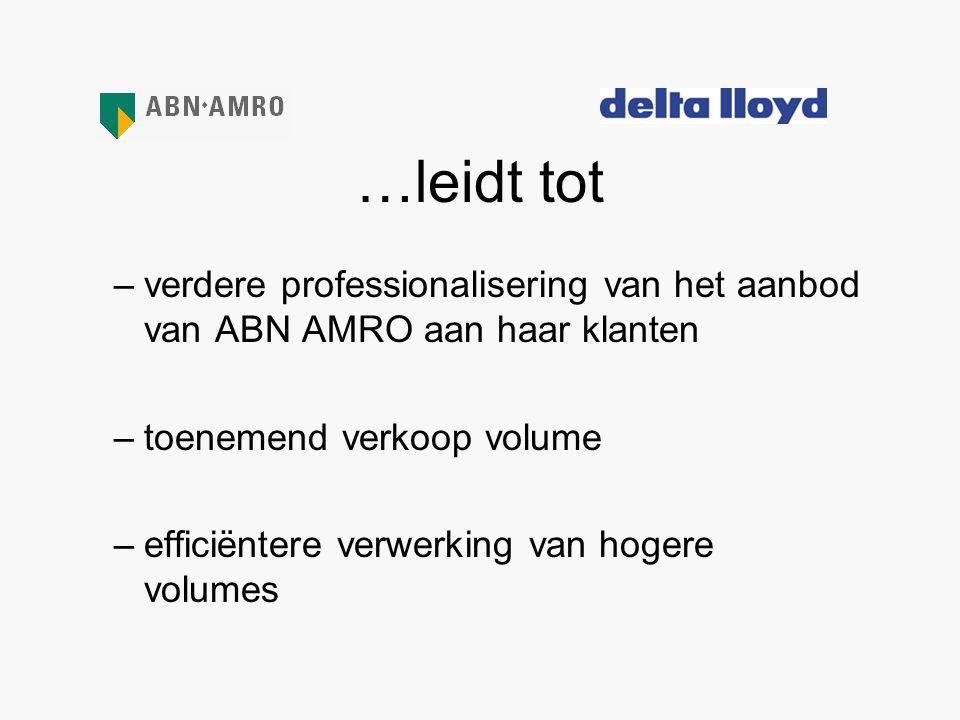 …leidt tot verdere professionalisering van het aanbod van ABN AMRO aan haar klanten. toenemend verkoop volume.