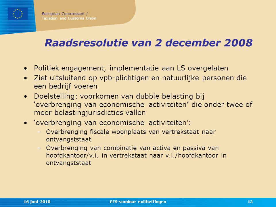 Raadsresolutie van 2 december 2008