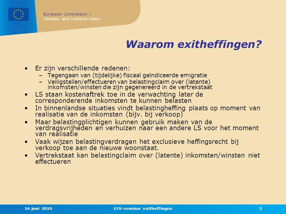 EFS-seminar exitheffingen