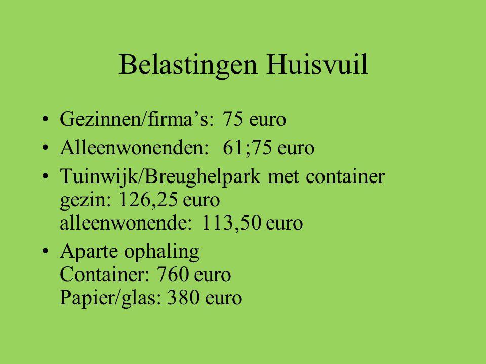 Belastingen Huisvuil Gezinnen/firma's: 75 euro