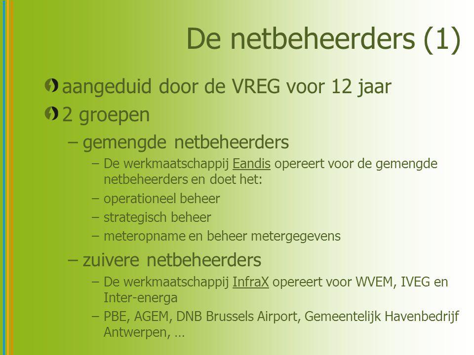 De netbeheerders (1) aangeduid door de VREG voor 12 jaar 2 groepen