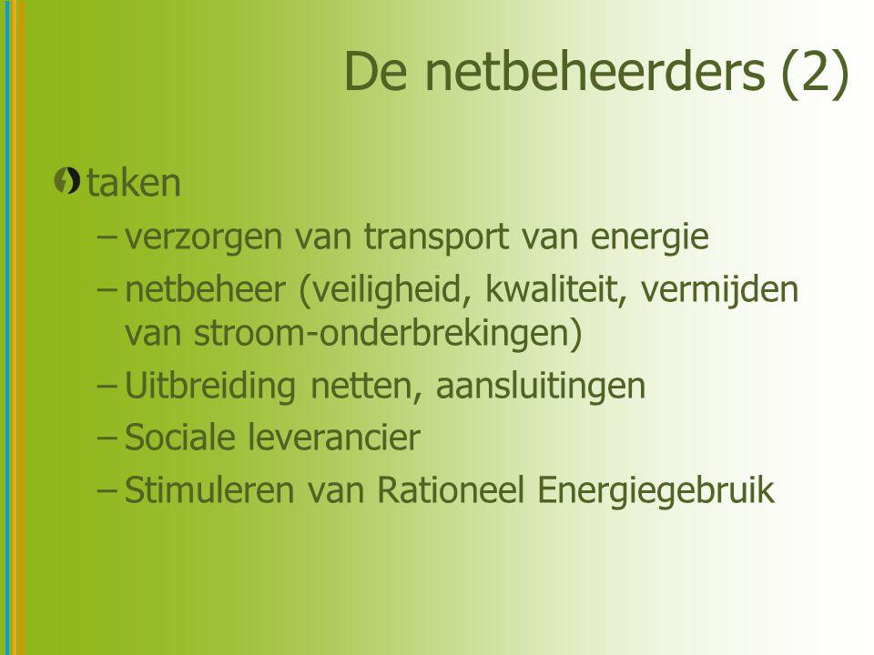 De netbeheerders (2) taken verzorgen van transport van energie