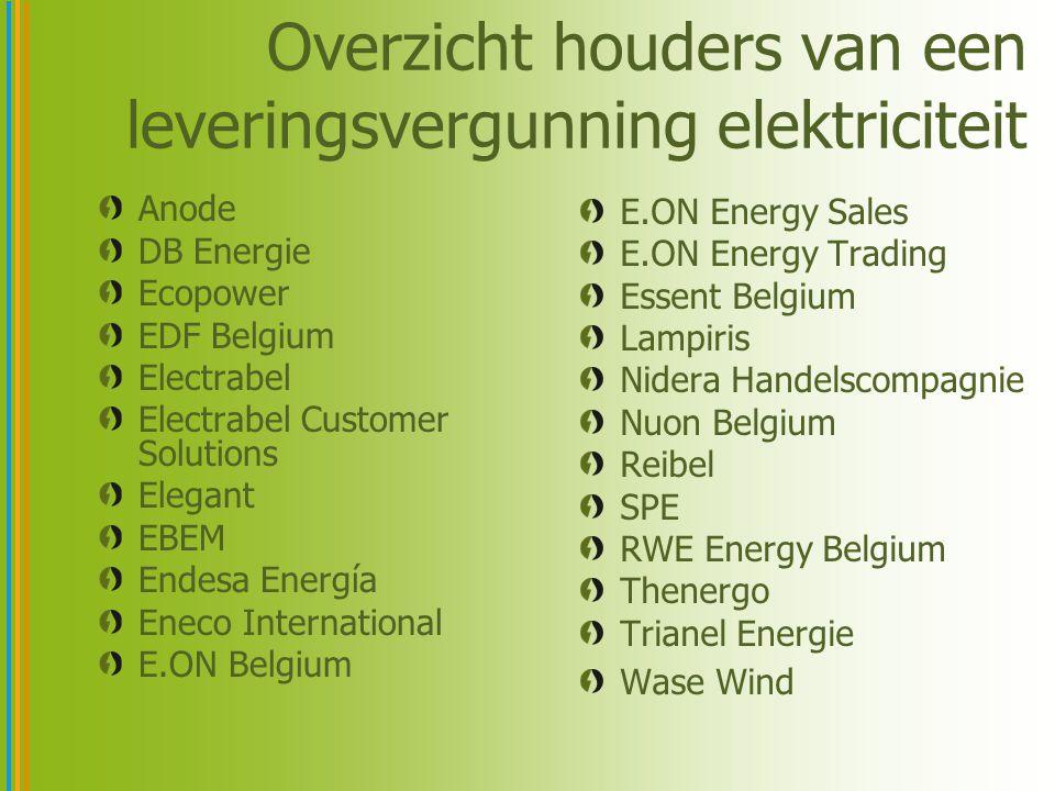Overzicht houders van een leveringsvergunning elektriciteit