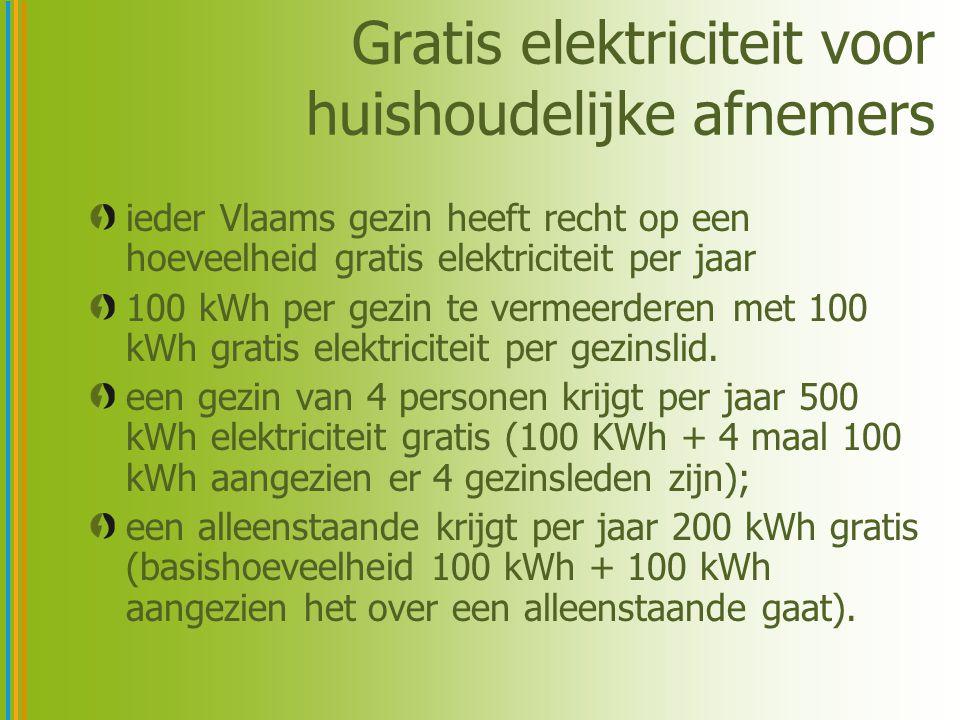 Gratis elektriciteit voor huishoudelijke afnemers