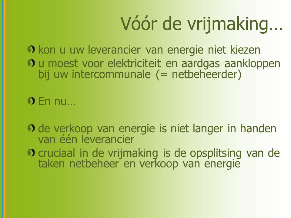 Vóór de vrijmaking… kon u uw leverancier van energie niet kiezen