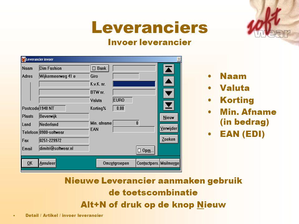 Leveranciers Invoer leverancier