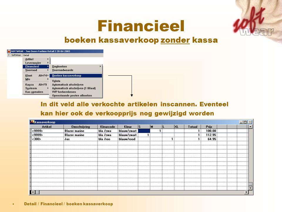 Financieel boeken kassaverkoop zonder kassa