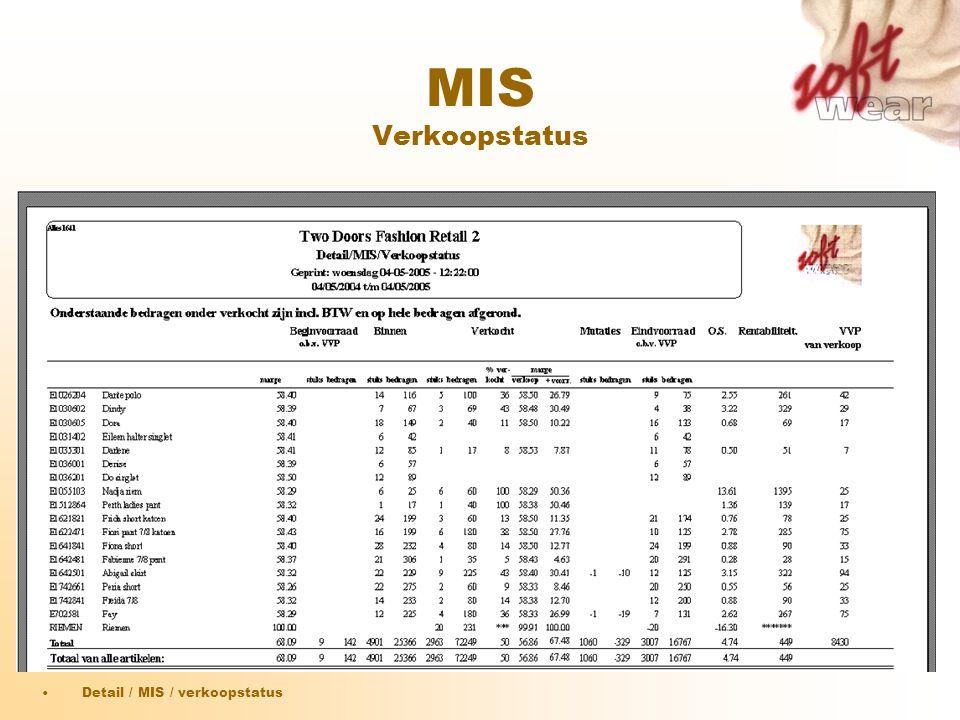 MIS Verkoopstatus Detail / MIS / verkoopstatus