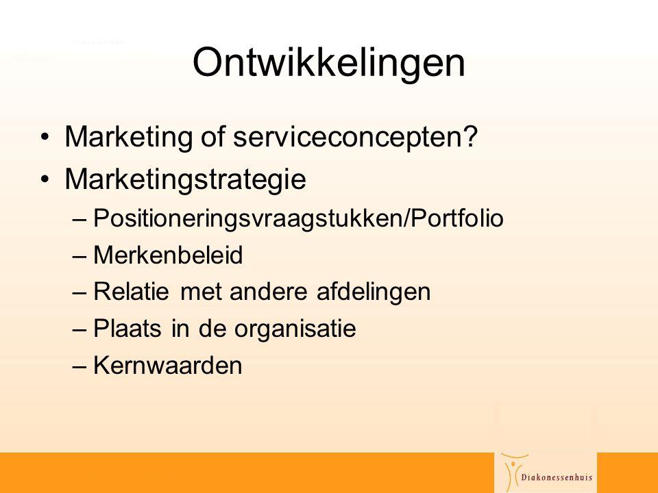 Ontwikkelingen Marketing of serviceconcepten Marketingstrategie