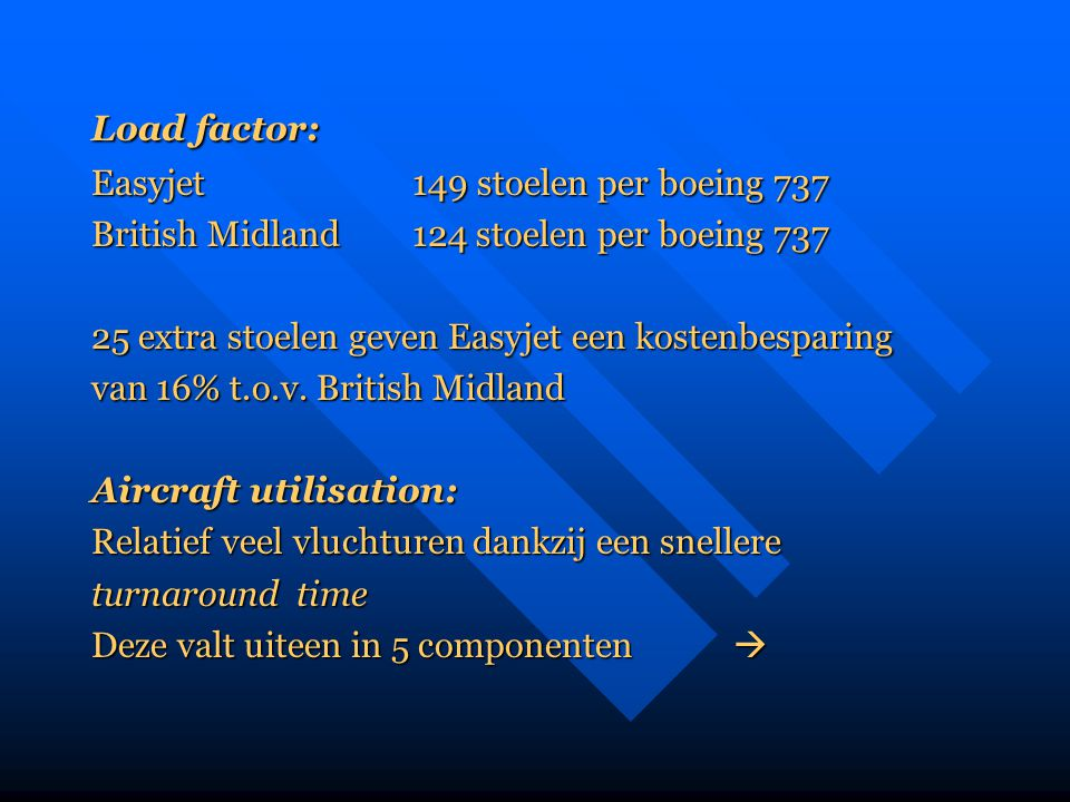 Load factor: Easyjet 149 stoelen per boeing 737. British Midland 124 stoelen per boeing 737. 25 extra stoelen geven Easyjet een kostenbesparing.