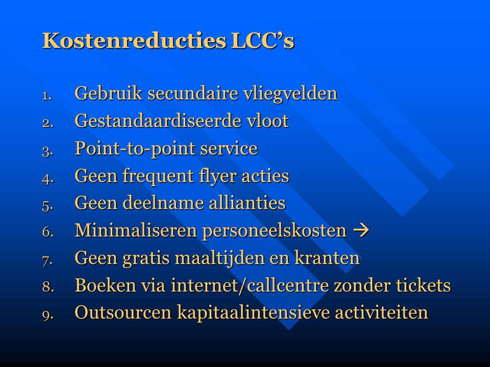 Kostenreducties LCC's