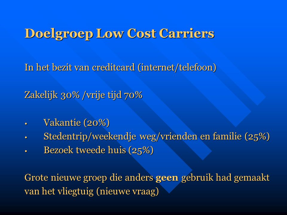 Doelgroep Low Cost Carriers
