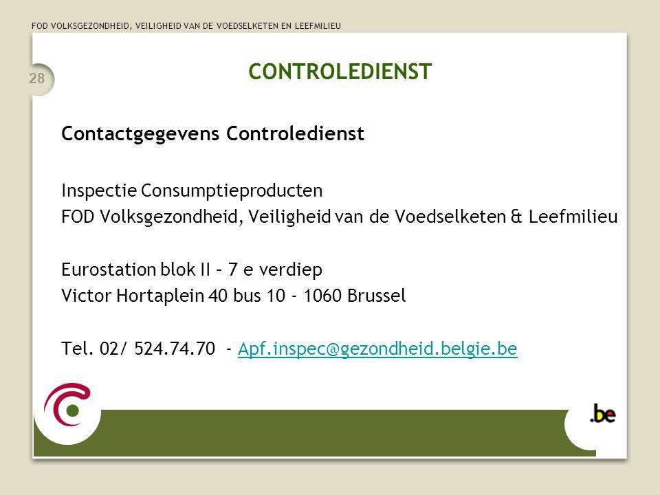 CONTROLEDIENST Contactgegevens Controledienst