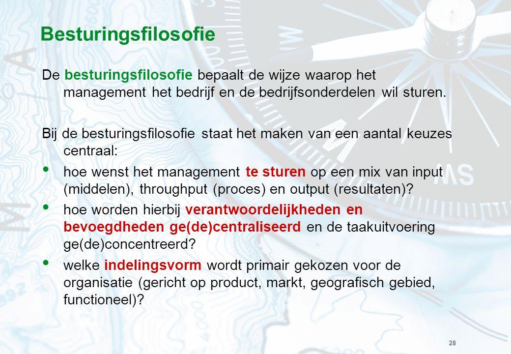 Besturingsfilosofie De besturingsfilosofie bepaalt de wijze waarop het management het bedrijf en de bedrijfsonderdelen wil sturen.
