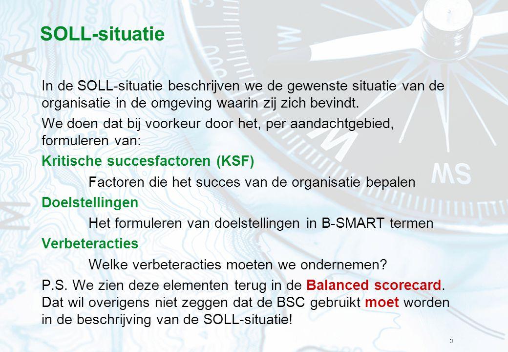 SOLL-situatie In de SOLL-situatie beschrijven we de gewenste situatie van de organisatie in de omgeving waarin zij zich bevindt.