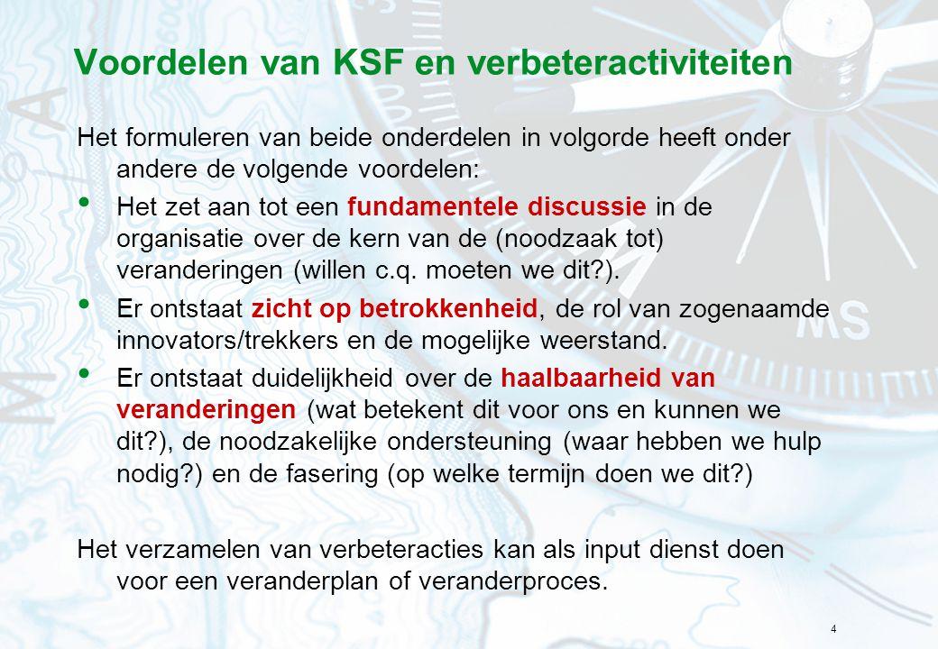 Voordelen van KSF en verbeteractiviteiten