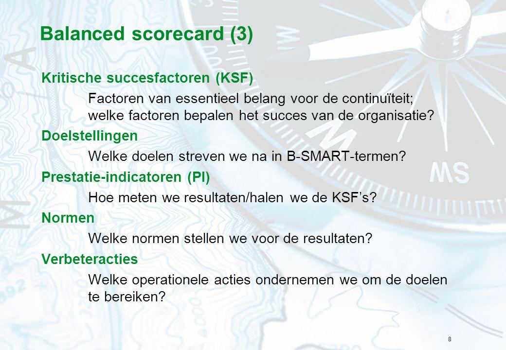 Balanced scorecard (3) Kritische succesfactoren (KSF)