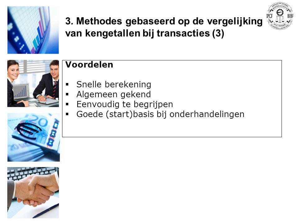 3. Methodes gebaseerd op de vergelijking van kengetallen bij transacties (3)