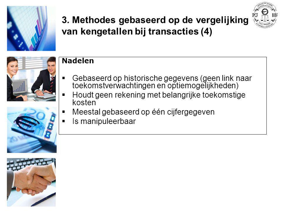 3. Methodes gebaseerd op de vergelijking van kengetallen bij transacties (4)