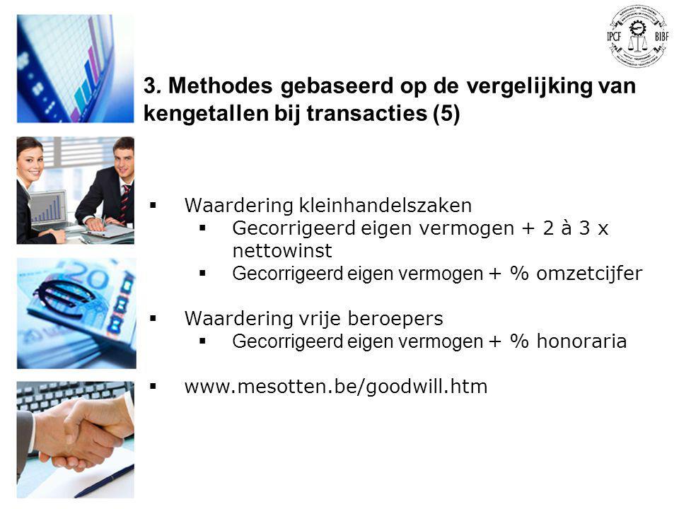 3. Methodes gebaseerd op de vergelijking van kengetallen bij transacties (5)