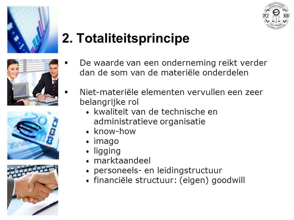 2. Totaliteitsprincipe De waarde van een onderneming reikt verder dan de som van de materiële onderdelen.