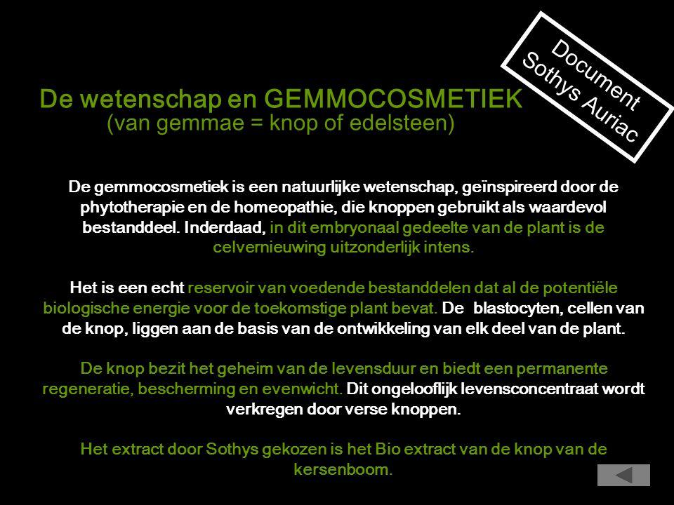 De wetenschap en GEMMOCOSMETIEK (van gemmae = knop of edelsteen)