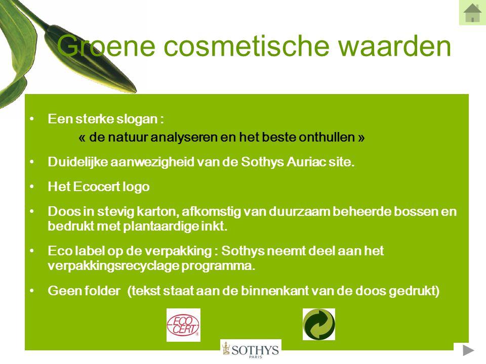 Groene cosmetische waarden