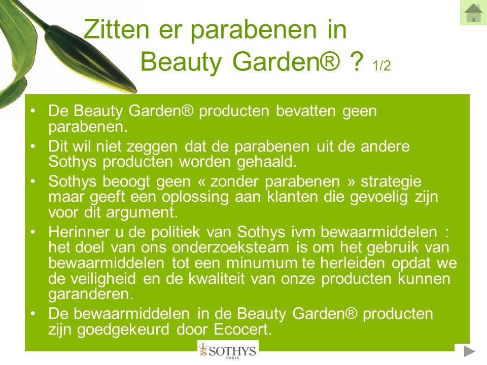 Zitten er parabenen in Beauty Garden® 1/2