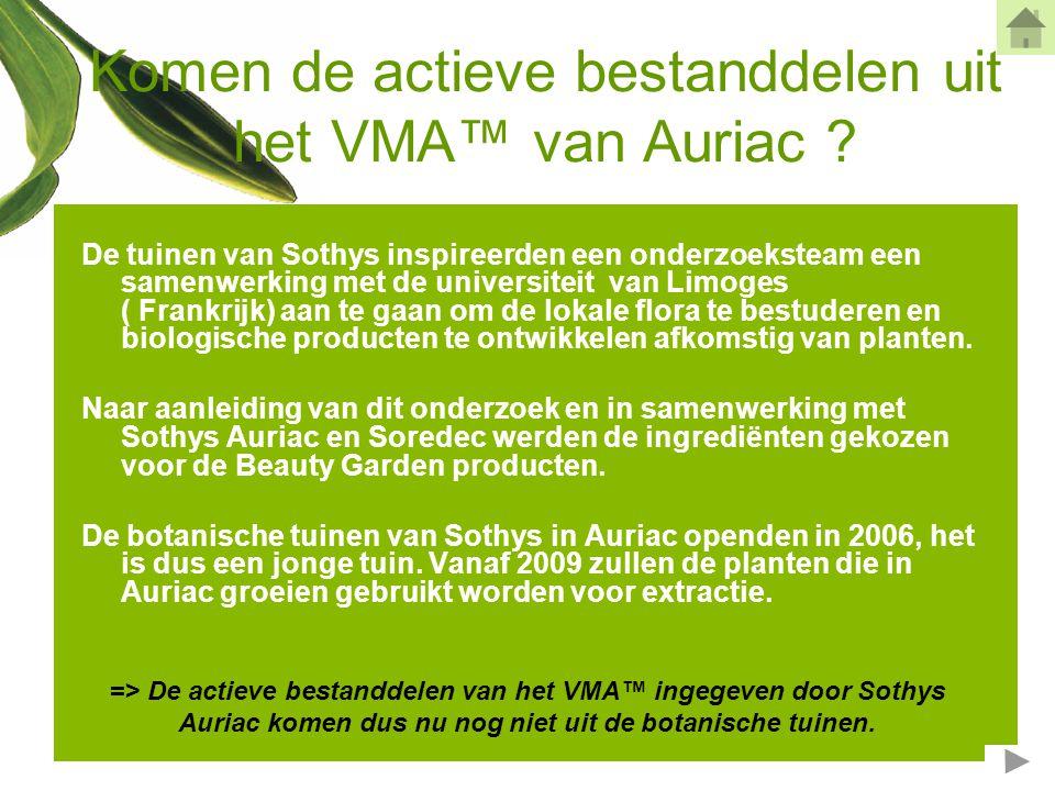 Komen de actieve bestanddelen uit het VMA™ van Auriac