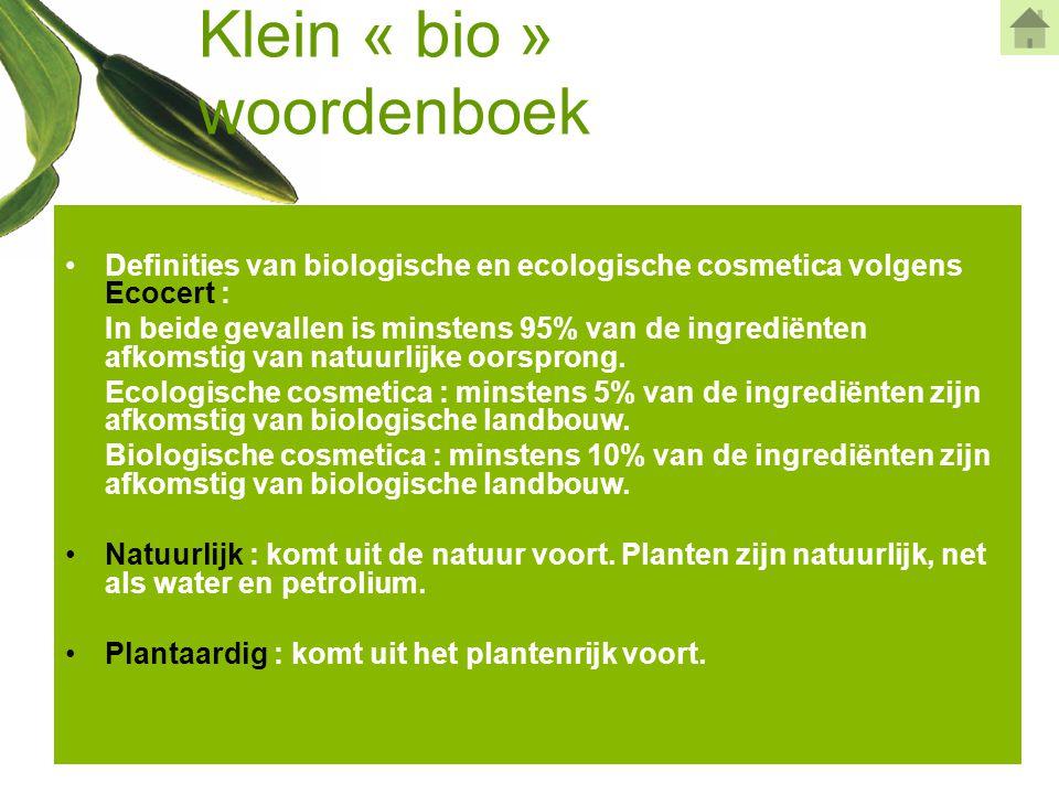 Klein « bio » woordenboek