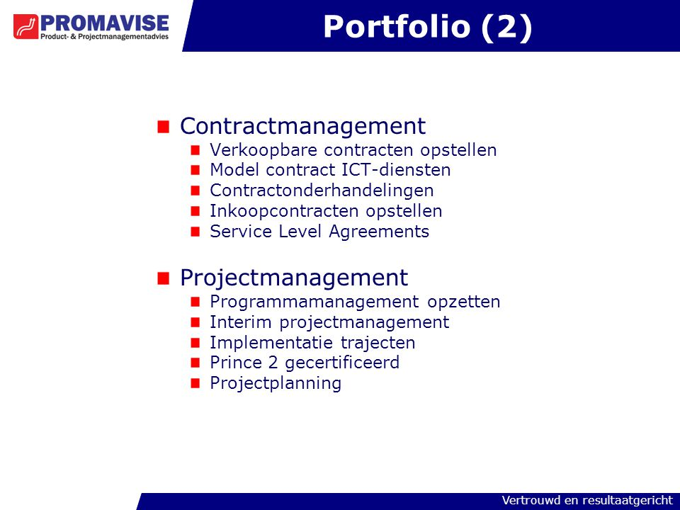 Portfolio (2) Contractmanagement Projectmanagement